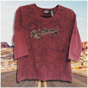 • Harley Davidson • vintage paisley velvet top